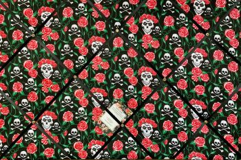 Custom Handmade Bespoke Fabric Pin Memo Notice Photo Cork Memo Board With Black, Red & White Skulls Roses & Thorns With Your Choice of Sizes & R
