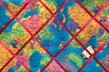 Custom Handmade Bespoke Fabric Pin Memo Notice Photo Cork Memo Board With Turquoise Blue Multicolour Atlas World Map Globe Choice of Sizes & Ribbons