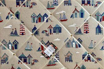 Custom Handmade Bespoke Fabric Pin Memo Notice Photo Cork Memo Board With Seaside Beach Huts Boats Nautical Lighthouse With Your Choice of Sizes & Rib