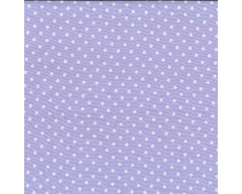 Polycotton Fabric Lilac White Polka Dot / Pea Spot Per Metre FREE DELIVERY