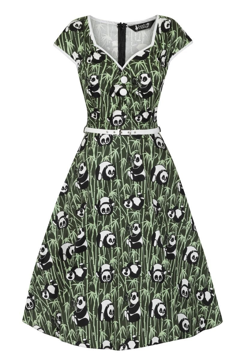 Lady Vintage Isabella Green Panda Eyes Retro 50s Vintage Style Dress Sizes