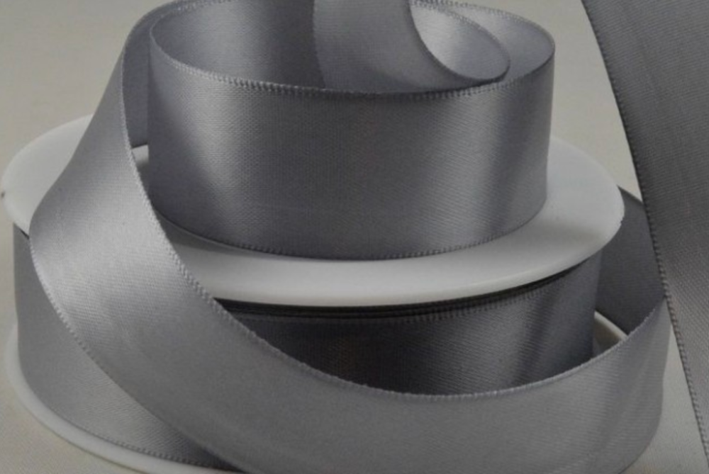 Double Sided Satin Ribbon 10mm 25 Metre Reel Or By The Metre in Dark Grey