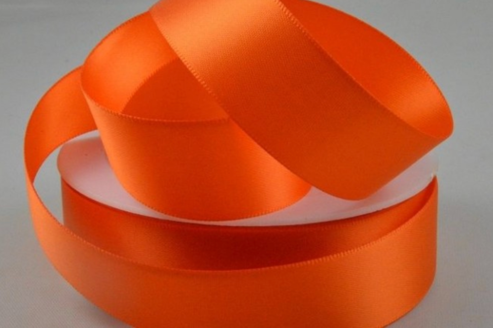 Double Sided Satin Ribbon 7mm 25 Metre Reel Or By The Metre in Orange