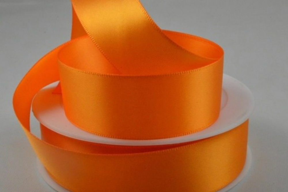 Double Sided Satin Ribbon 7mm 25 Metre Reel Or By The Metre in Light Orange