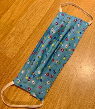 Adult's Handcrafted Reusable Washable Fabric Face Mask Covering Raising Money For Mind Pink & Turquoise Blue Floral