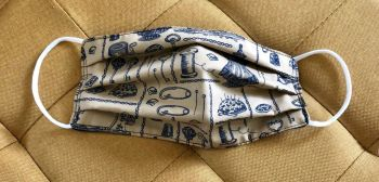 Adult's Handcrafted Reusable Washable Fabric Face Mask Covering Raising Money For Mind Vintage Sewing Bobbins