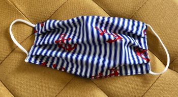 Adult's Handcrafted Reusable Washable Fabric Face Mask Covering Raising Money For Mind Nautical Stripes & Anchors
