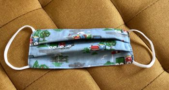 Kid's Handcrafted Reusable Washable Fabric Face Mask Covering Raising Money For Mind Cath Kidston Trains & Gingham