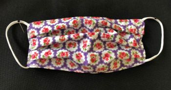 Adult's Handcrafted Reusable Washable Fabric Face Mask Covering Raising Money For Mind Purple Provence Rose & Lilac Stripe