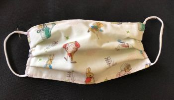 Adult's Handcrafted Reusable Washable Fabric Face Mask Covering Raising Money For Mind Beatrix Potter Peter Rabbit & Green