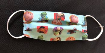 Kid's Handcrafted Reusable Washable Fabric Face Mask Covering Raising Money For Mind Toy Story & Cath Kidston Blue Spot