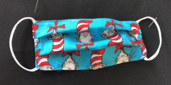 Kid's Handcrafted Reusable Washable Fabric Face Mask Covering Raising Money For Mind Dr Suess Turquoise