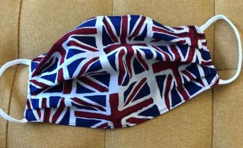 Adult's Handcrafted Reusable Washable Fabric Face Mask Covering Raising Money For Mind Union Jack Flag & Blue