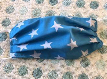 Adult's Handcrafted Reusable Washable Fabric Face Mask Covering Raising Money For Mind Turquoise Blue Star
