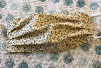 Adult's Handcrafted Reusable Washable Fabric Face Mask Covering Raising Money For Mind Rose & Hubble Rosebud Yellow & Lemon