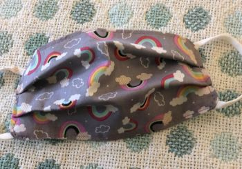 Kid's Handcrafted Reusable Washable Fabric Face Mask Covering Raising Money For Mind Anthology Raining Rainbows Grey & Mint Green Polka Dot