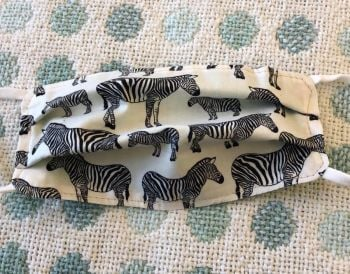 Kid's Handcrafted Reusable Washable Fabric Face Mask Covering Raising Money For Mind Mini Zebras & Green