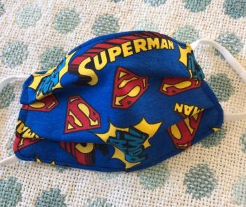 Kid's Handcrafted Reusable Washable Fabric Face Mask Covering Raising Money For Mind Superman Ka Pow Blue & Yellow
