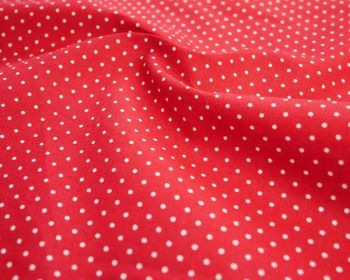 "100% Cotton Fabric Red White Polka Dot / Pinspot 56"" Per Metre"