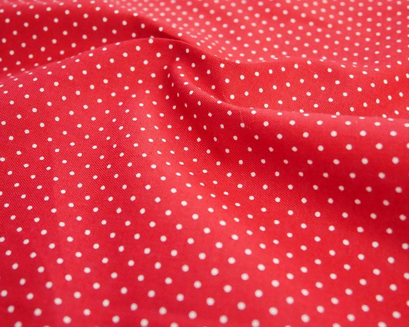 100% Cotton Fabric Red White Polka Dot / Pinspot 56