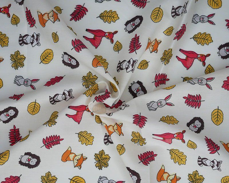 Forest Animals Polycotton Fabric 44 inch By The Metre FREE DELIVERY