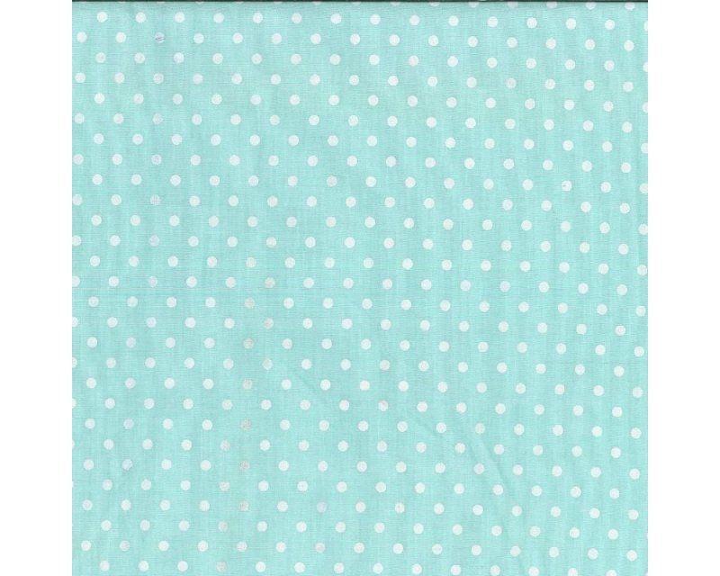 Sally Paste Pea Spot Mint Polycotton Per Metre FREE DELIVERY