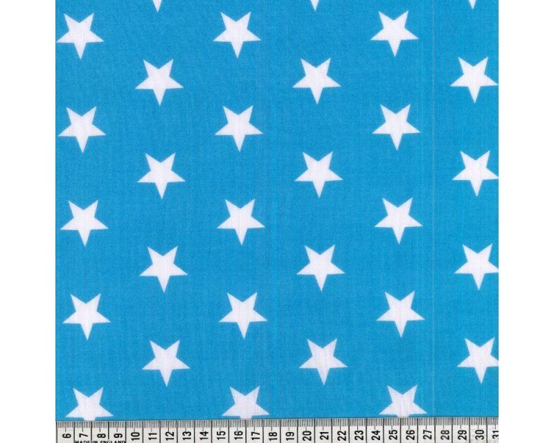 Sally Stars Turquoise & White 44 inch Polycotton Per Metre FREE DELIVERY