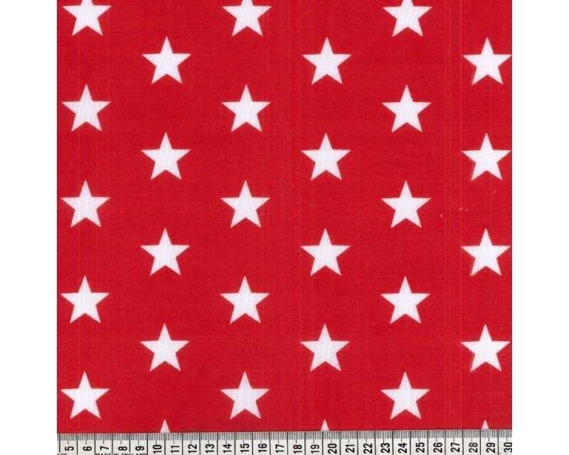 Sally Stars Red & White 44 inch Polycotton Per Metre FREE DELIVERY
