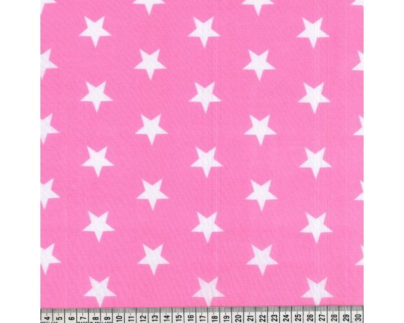 Sally Stars Pink & White 44 inch Polycotton Per Metre FREE DELIVERY