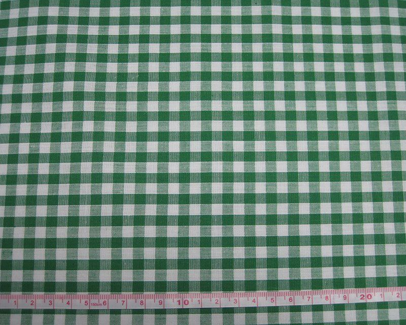 Polycotton Fabric Green 1/4 Gingham Check 44 inch By The Metre FREE DELIVER