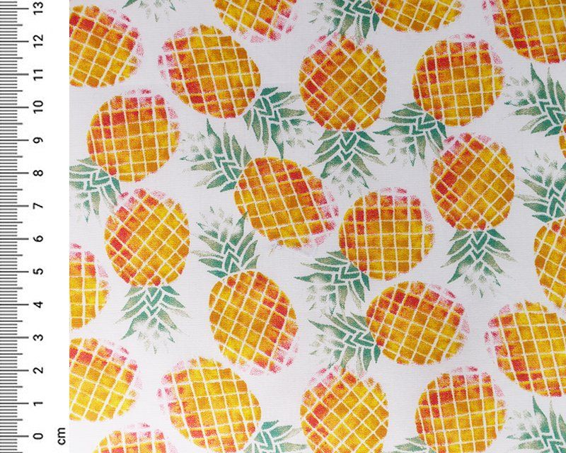 Pineapple Cotton Poplin Fabric Material 140cm By The Metre FREE DELIVERY