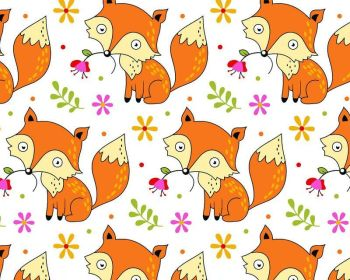 Foxes & Flowers Polycotton White Fabric 44 inch By The Metre FREE DELIVERY
