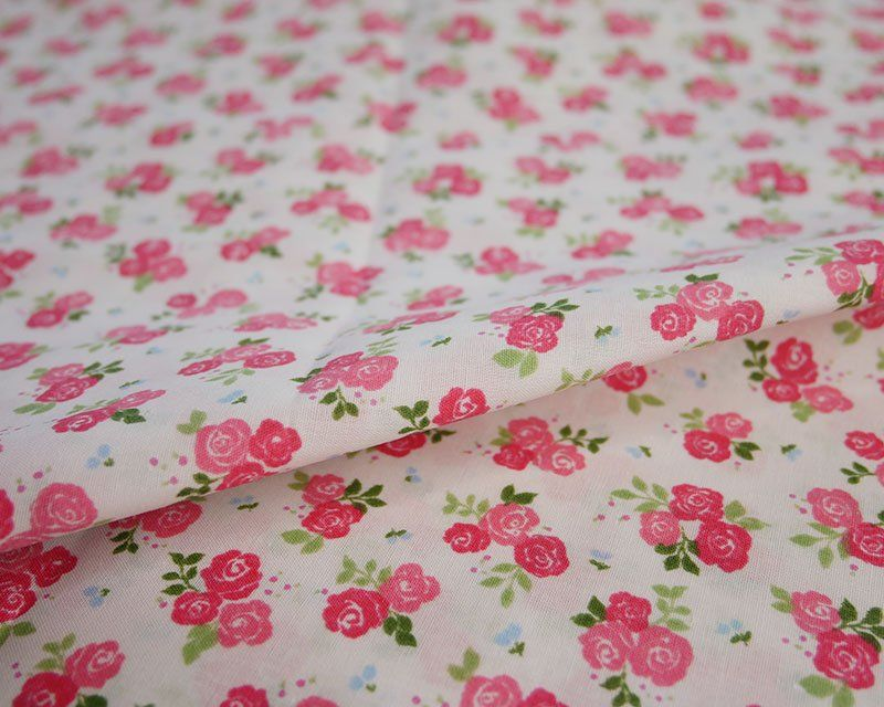 Sally Polycotton Small Triple Rose Pink Fabric 44 inch By The Metre FREE DE