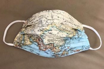 Adult's Handcrafted Reusable Washable Fabric Face Mask Covering Raising Money For Mind Blue Atlas Map & Blue