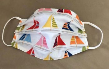 Adult's Handcrafted Reusable Washable Fabric Face Mask Covering Raising Money For Mind Sailing Boats & Blue