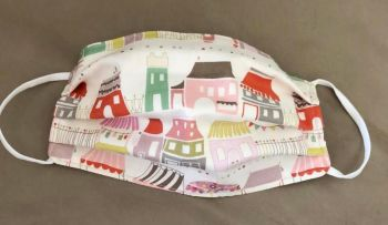 Adult's Handcrafted Reusable Washable Fabric Face Mask Covering Raising Money For Mind Town Houses & Laura Ashley Pink Dot