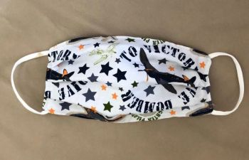 Adult's Handcrafted Reusable Washable Fabric Face Mask Covering Raising Money For Mind WW2 Maverick Fighter Plane Bomber & Grey