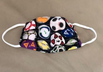 Kid's Handcrafted Reusable Washable Fabric Face Mask Covering Raising Money For Mind Multicolour Footballs & Orange