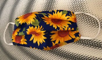 Adult's Handcrafted Reusable Washable Fabric Face Mask Covering Raising Money For Mind Rose & Hubble Royal Blue Yellow Sunflower