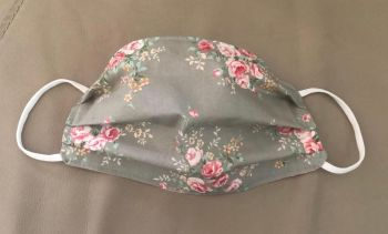 Adult's Handcrafted Reusable Washable Fabric Face Mask Covering Raising Money For Mind Rose & Hubble Silver Vintage Flower