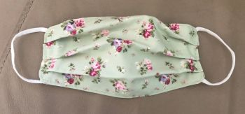Adult's Handcrafted Reusable Washable Fabric Face Mask Covering Raising Money For Mind Rose & Hubble Green Dainty Bouquet Floral