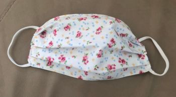Adult's Handcrafted Reusable Washable Fabric Face Mask Covering Raising Money For Mind Rose & Hubble Cream Vintage Ditsy Roses