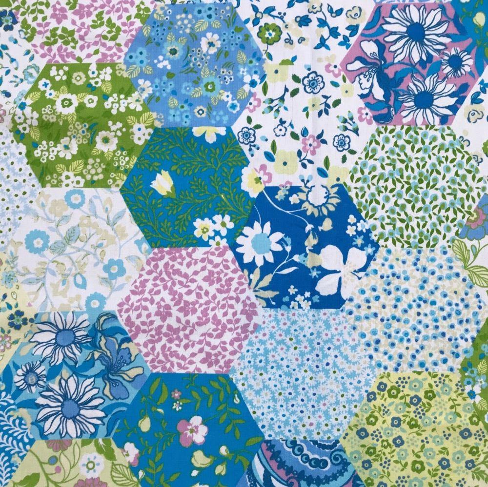 Prestigious Textiles Picnic Patchwork Sky Cotton Fabric By The Metre FREE D