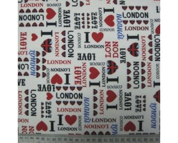 I Love London Capital City Cotton White 54inch By The Metre FREE DELIVERY