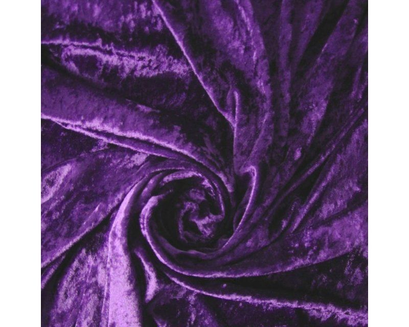 Crushed Velvet Cadbury's Purple Fabric 58 inch By The Metre FREE DELIVERY