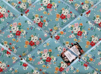 Custom Handmade Bespoke Fabric Pin Memo Notice Photo Cork Memo Board With Cath Kidston Blue Clifton Roses Flowers Choice of Sizes & Ribbons