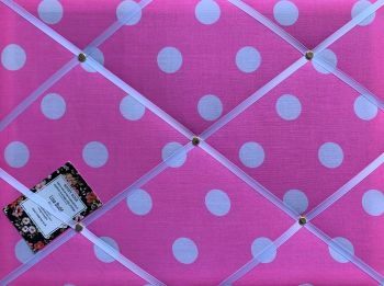Custom Handmade Bespoke Pin Memo Notice Photo Cork Memo Board With Large Bright Pink Spot Fabric With Your Choice of Sizes & Ribbons