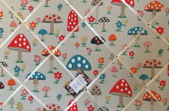 Custom Handmade Bespoke Fabric Pin Memo Notice Photo Cork Memo Board With Cath Kidston Mushroom Toadstool Your Choice of Sizes & Ribbons