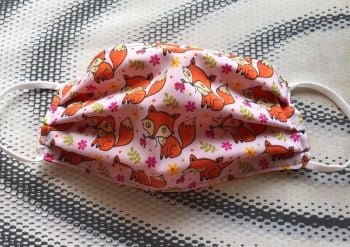Adult's Handcrafted Reusable Washable Fabric Face Mask Covering Raising Money For Mind Foxes & Orange