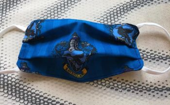 Kid's Handcrafted Reusable Washable Fabric Face Mask Covering Raising Money For Mind Harry Potter Ravenclaw House Blue Hogwarts